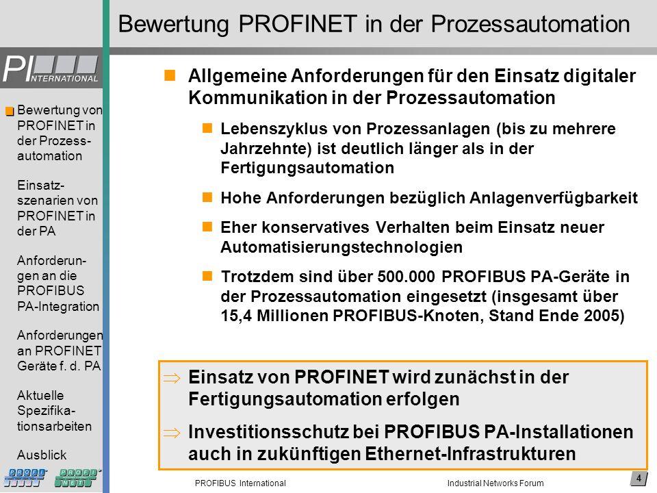 4 PROFIBUS International Bewertung von PROFINET in der Prozess- automation Einsatz- szenarien von PROFINET in der PA Anforderun- gen an die PROFIBUS P
