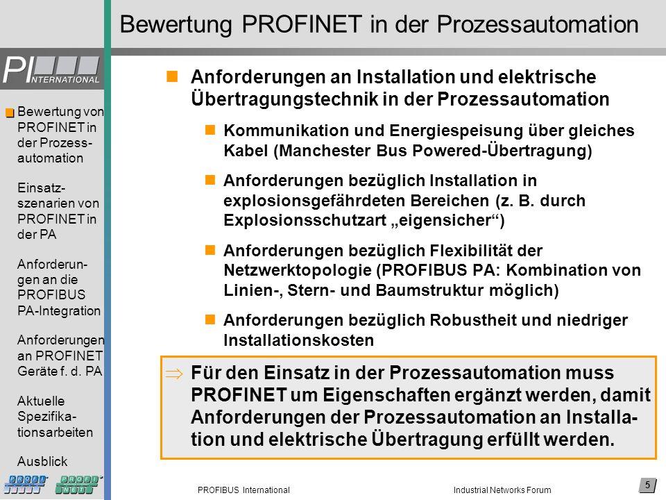 16 PROFIBUS International Bewertung von PROFINET in der Prozess- automation Einsatz- szenarien von PROFINET in der PA Anforderun- gen an die PROFIBUS PA-Integration Anforderungen an PROFINET Geräte f.