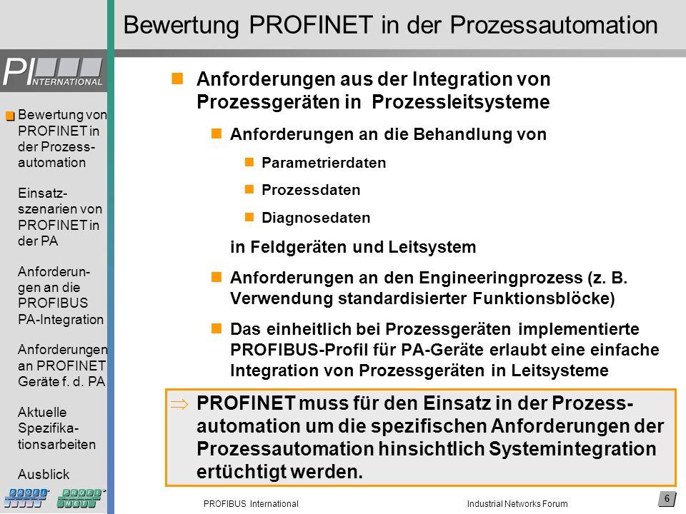 6 PROFIBUS International Bewertung von PROFINET in der Prozess- automation Einsatz- szenarien von PROFINET in der PA Anforderun- gen an die PROFIBUS P