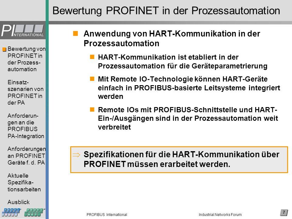 7 PROFIBUS International Bewertung von PROFINET in der Prozess- automation Einsatz- szenarien von PROFINET in der PA Anforderun- gen an die PROFIBUS P