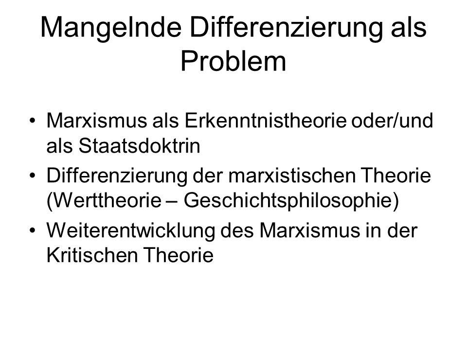 Mangelnde Differenzierung als Problem Marxismus als Erkenntnistheorie oder/und als Staatsdoktrin Differenzierung der marxistischen Theorie (Werttheorie – Geschichtsphilosophie) Weiterentwicklung des Marxismus in der Kritischen Theorie