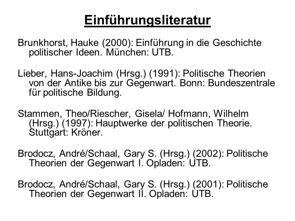 Einführungsliteratur Brunkhorst, Hauke (2000): Einführung in die Geschichte politischer Ideen.