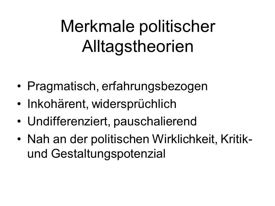 Merkmale politischer Alltagstheorien Pragmatisch, erfahrungsbezogen Inkohärent, widersprüchlich Undifferenziert, pauschalierend Nah an der politischen Wirklichkeit, Kritik- und Gestaltungspotenzial
