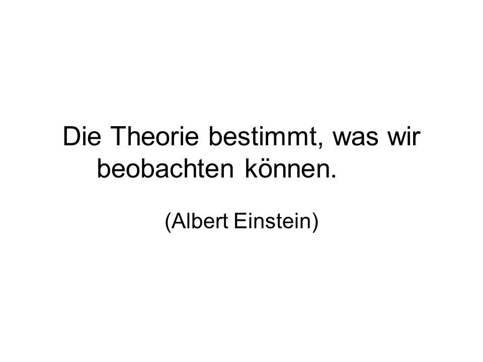 Die Theorie bestimmt, was wir beobachten können. (Albert Einstein)
