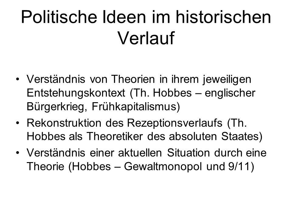 Politische Ideen im historischen Verlauf Verständnis von Theorien in ihrem jeweiligen Entstehungskontext (Th.