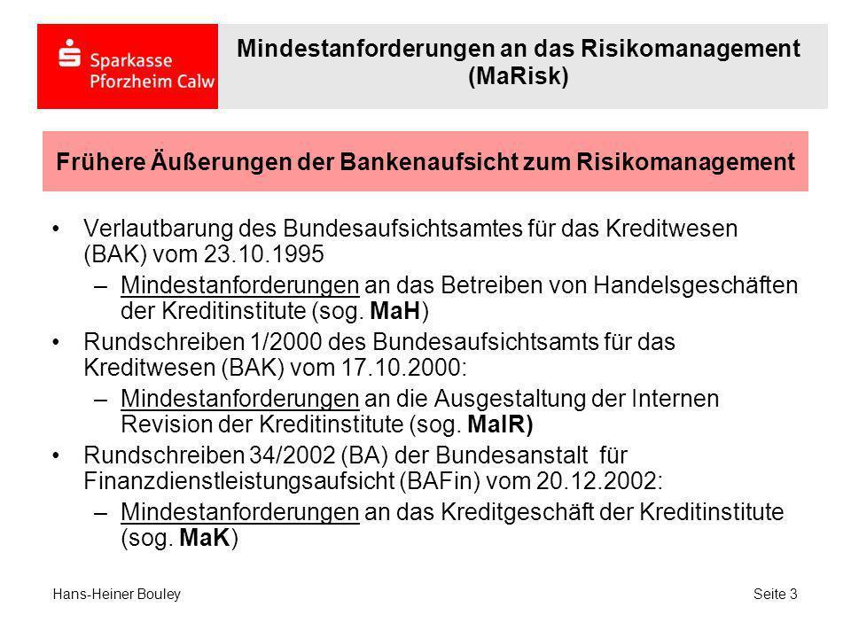 Frühere Äußerungen der Bankenaufsicht zum Risikomanagement Verlautbarung des Bundesaufsichtsamtes für das Kreditwesen (BAK) vom 23.10.1995 –Mindestanf