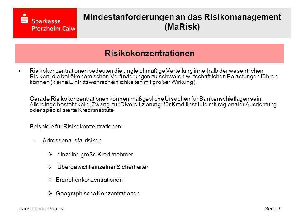 Risikokonzentrationen Weitere Beispiele für Risikokonzentrationen: –Marktpreisrisiken Konzentration auf wenige Laufzeitbänder Konzentration auf wenige Assetklassen (z.B.