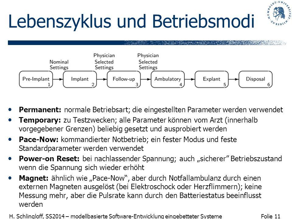 Folie 11 H. Schlingloff, SS2014 – modellbasierte Software-Entwicklung eingebetteter Systeme Lebenszyklus und Betriebsmodi Permanent: normale Betriebsa