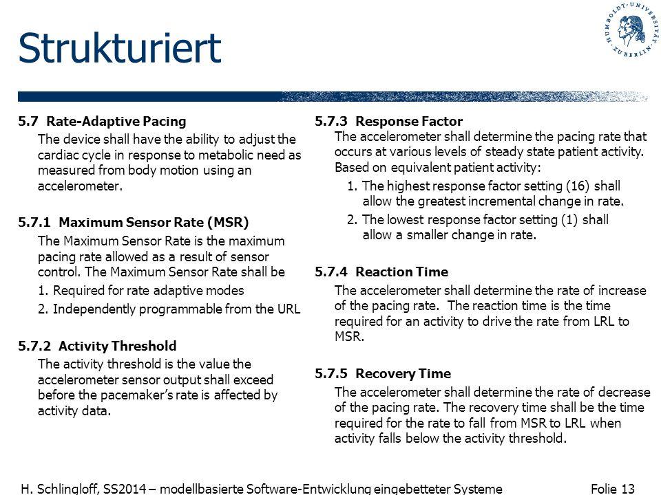 Folie 13 H. Schlingloff, SS2014 – modellbasierte Software-Entwicklung eingebetteter Systeme Strukturiert 5.7 Rate-Adaptive Pacing The device shall hav