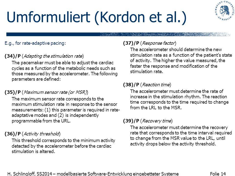 Folie 14 H. Schlingloff, SS2014 – modellbasierte Software-Entwicklung eingebetteter Systeme Umformuliert (Kordon et al.) E.g., for rate-adaptive pacin