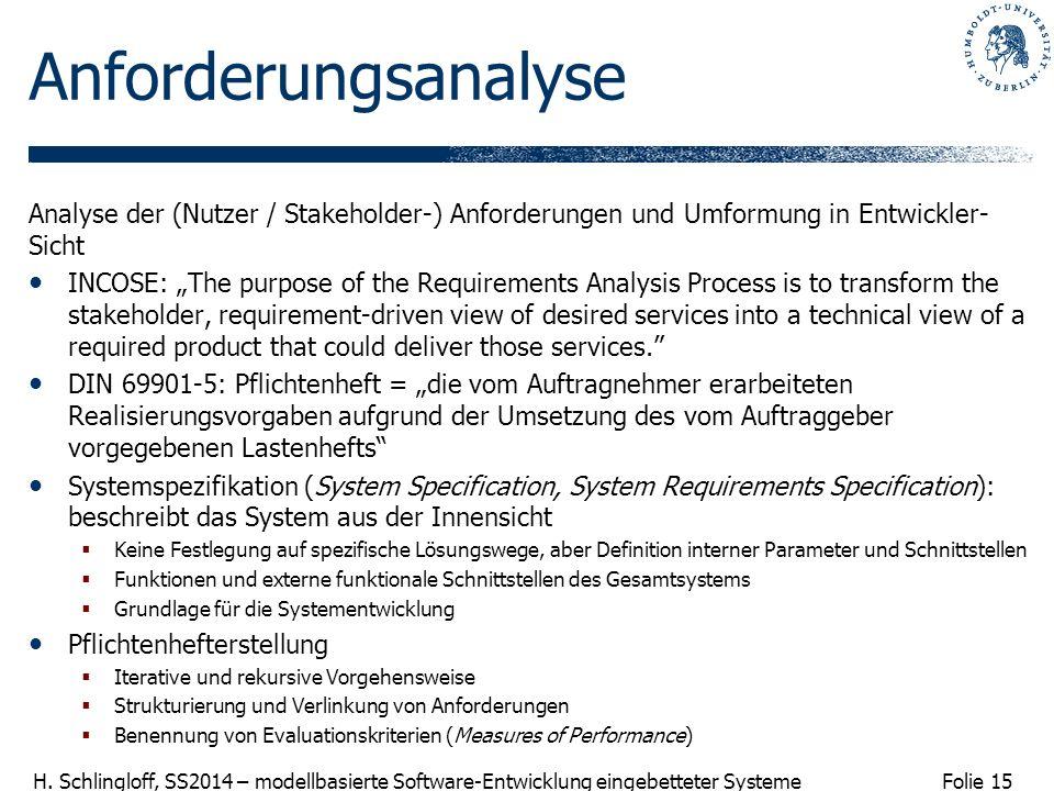 Folie 15 H. Schlingloff, SS2014 – modellbasierte Software-Entwicklung eingebetteter Systeme Anforderungsanalyse Analyse der (Nutzer / Stakeholder-) An