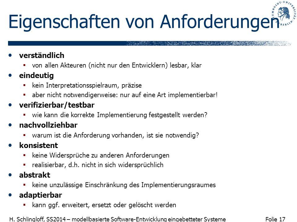 Folie 17 H. Schlingloff, SS2014 – modellbasierte Software-Entwicklung eingebetteter Systeme Eigenschaften von Anforderungen verständlich von allen Akt