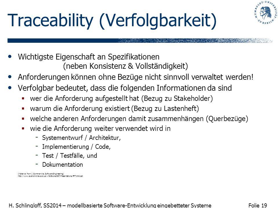 Folie 19 H. Schlingloff, SS2014 – modellbasierte Software-Entwicklung eingebetteter Systeme Traceability (Verfolgbarkeit) Wichtigste Eigenschaft an Sp