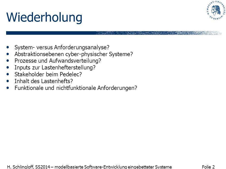 Folie 2 H. Schlingloff, SS2014 – modellbasierte Software-Entwicklung eingebetteter Systeme Wiederholung System- versus Anforderungsanalyse? Abstraktio