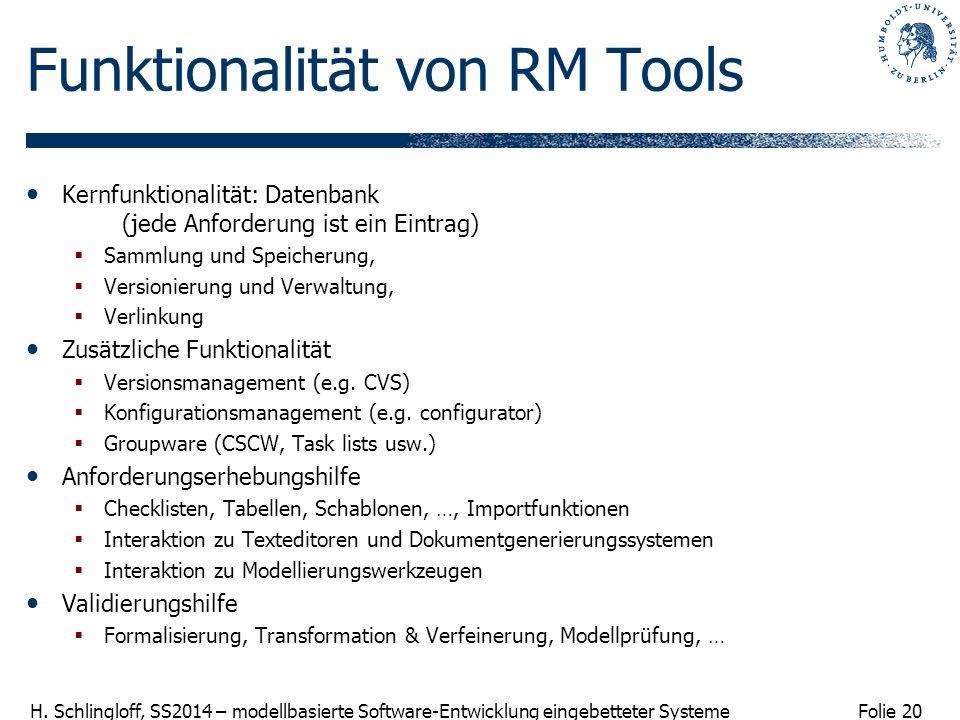 Folie 20 H. Schlingloff, SS2014 – modellbasierte Software-Entwicklung eingebetteter Systeme Funktionalität von RM Tools Kernfunktionalität: Datenbank