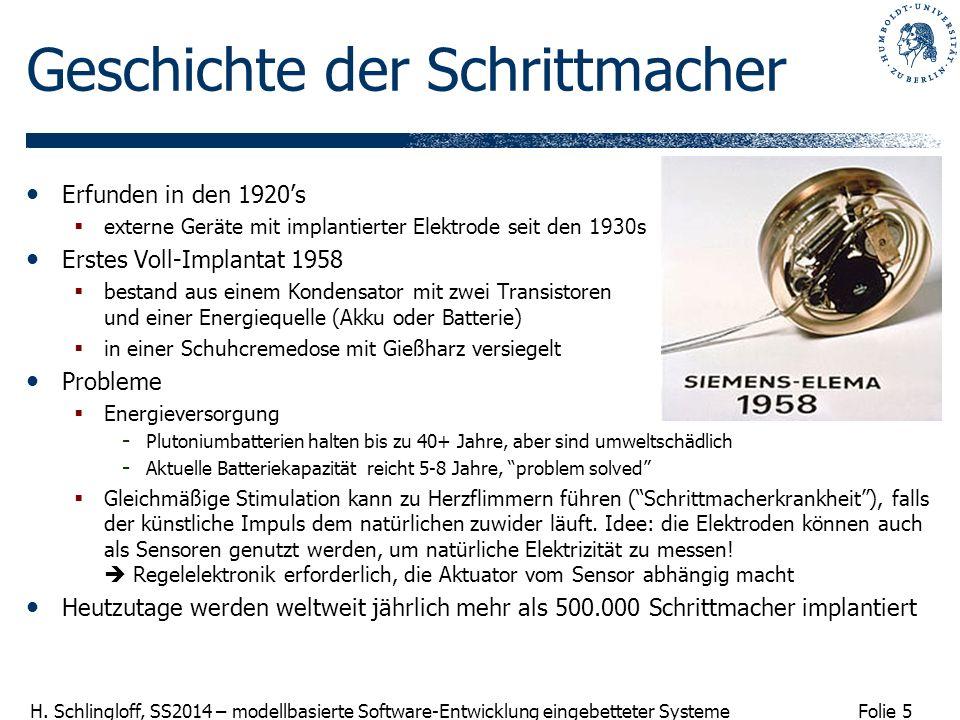 Folie 5 H. Schlingloff, SS2014 – modellbasierte Software-Entwicklung eingebetteter Systeme Geschichte der Schrittmacher Erfunden in den 1920s externe