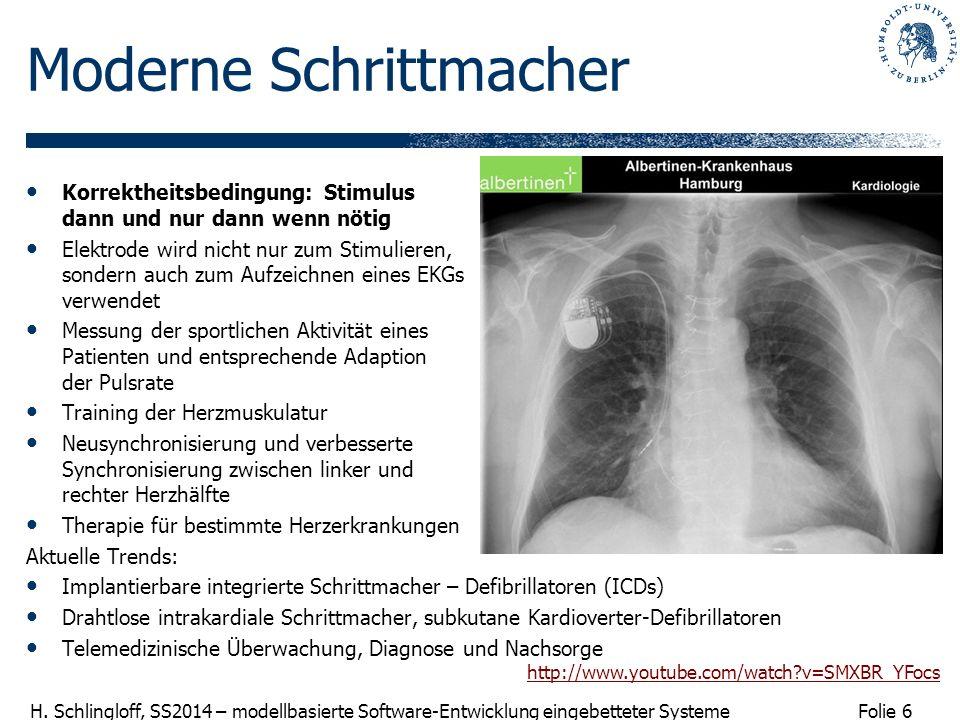 Folie 6 H. Schlingloff, SS2014 – modellbasierte Software-Entwicklung eingebetteter Systeme Moderne Schrittmacher Korrektheitsbedingung: Stimulus dann