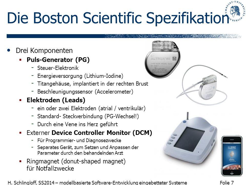 Folie 7 H. Schlingloff, SS2014 – modellbasierte Software-Entwicklung eingebetteter Systeme Drei Komponenten Puls-Generator (PG) - Steuer-Elektronik -