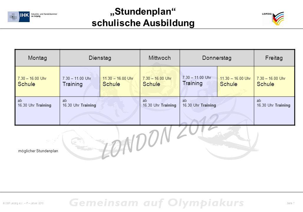 OSP Leipzig e.V. – IF – Januar 2010 Seite 7 Stundenplan schulische Ausbildung MontagDienstagMittwochDonnerstagFreitag 7.30 – 16.00 Uhr Schule 7.30 – 1