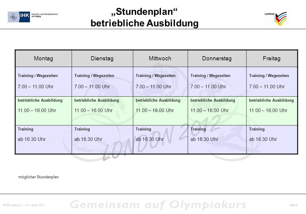 OSP Leipzig e.V. – IF – Januar 2010 Seite 8 Stundenplan betriebliche Ausbildung MontagDienstagMittwochDonnerstagFreitag Training / Wegezeiten 7.00 – 1