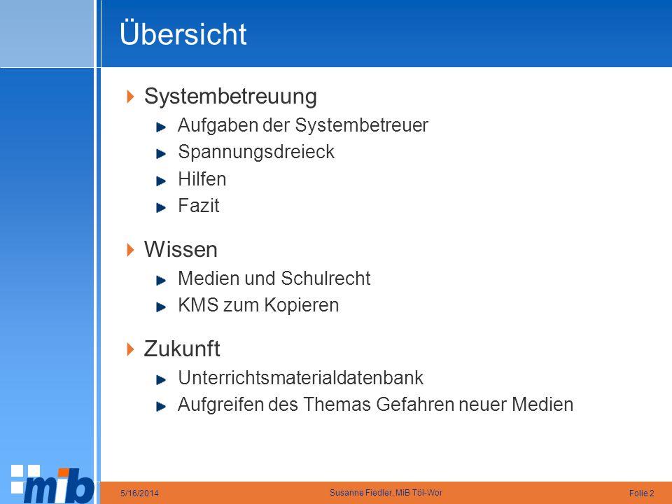 Folie 25/16/2014 Susanne Fiedler, MiB Töl-Wor Übersicht Systembetreuung Aufgaben der Systembetreuer Spannungsdreieck Hilfen Fazit Wissen Medien und Sc