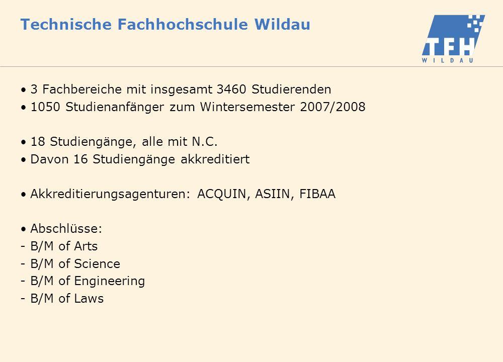 Technische Fachhochschule Wildau 3 Fachbereiche mit insgesamt 3460 Studierenden 1050 Studienanfänger zum Wintersemester 2007/2008 18 Studiengänge, alle mit N.C.