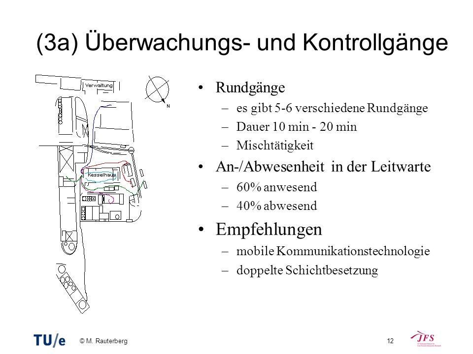 © M. Rauterberg12 (3a) Überwachungs- und Kontrollgänge Rundgänge –es gibt 5-6 verschiedene Rundgänge –Dauer 10 min - 20 min –Mischtätigkeit An-/Abwese