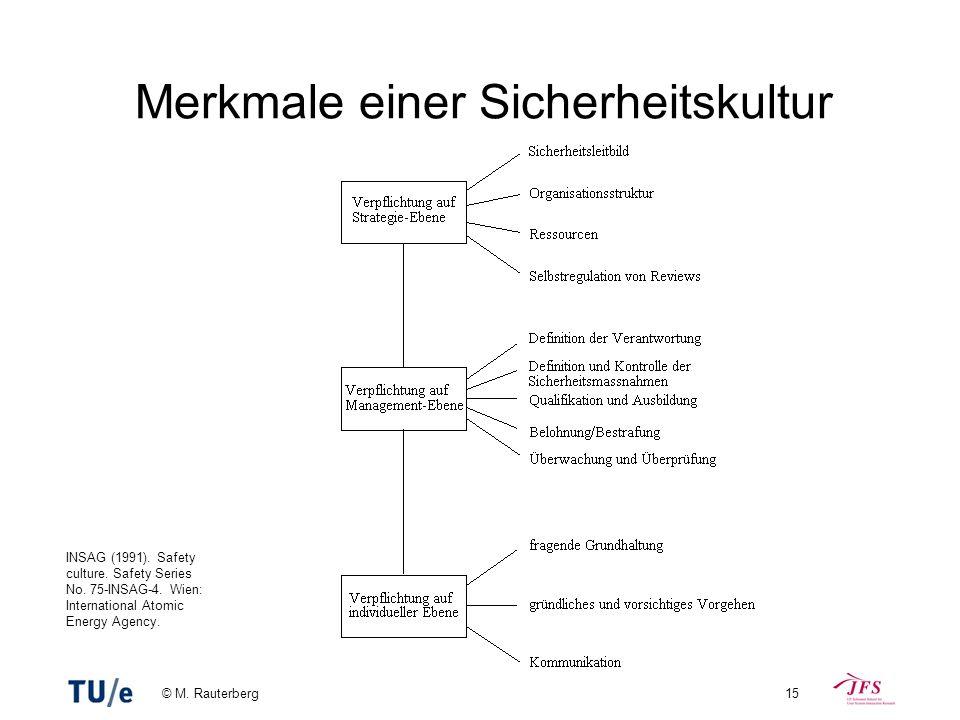 © M. Rauterberg15 Merkmale einer Sicherheitskultur INSAG (1991). Safety culture. Safety Series No. 75-INSAG-4. Wien: International Atomic Energy Agenc