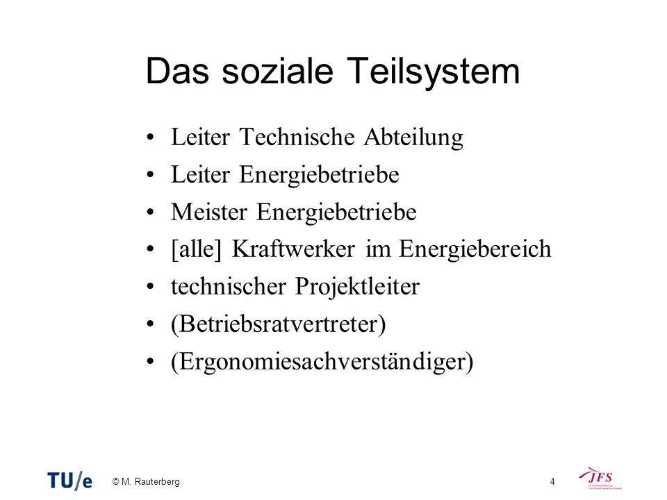 © M. Rauterberg4 Das soziale Teilsystem Leiter Technische Abteilung Leiter Energiebetriebe Meister Energiebetriebe [alle] Kraftwerker im Energiebereic