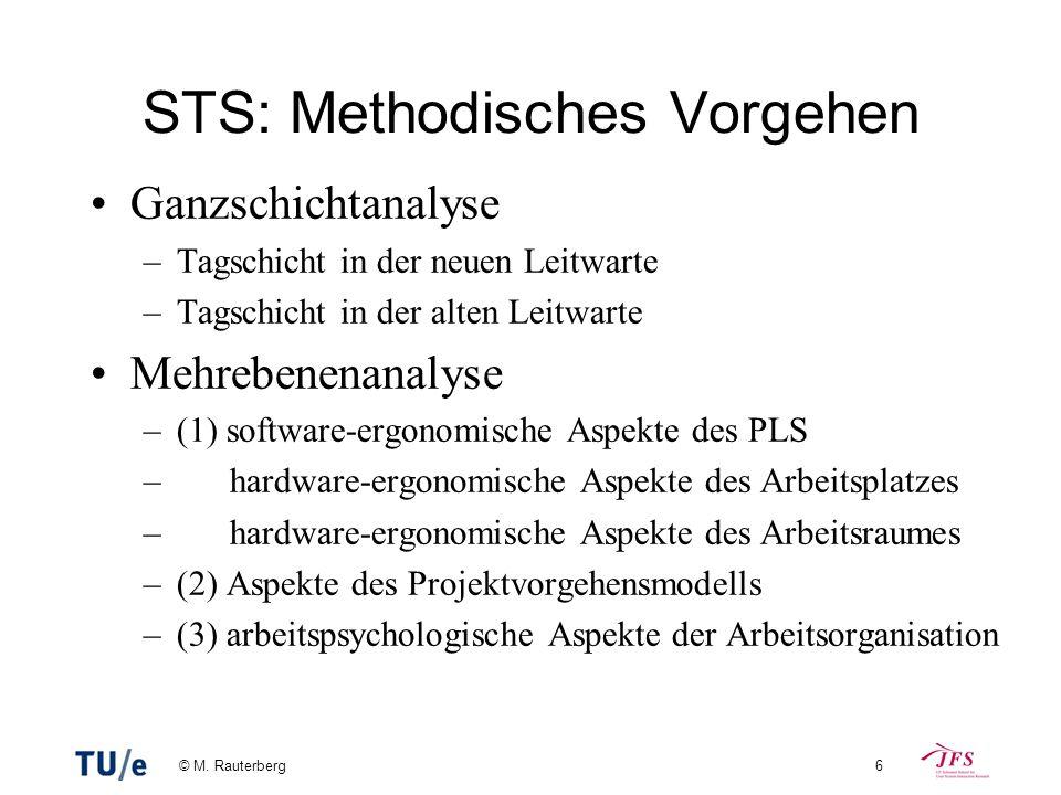 © M. Rauterberg6 STS: Methodisches Vorgehen Ganzschichtanalyse –Tagschicht in der neuen Leitwarte –Tagschicht in der alten Leitwarte Mehrebenenanalyse