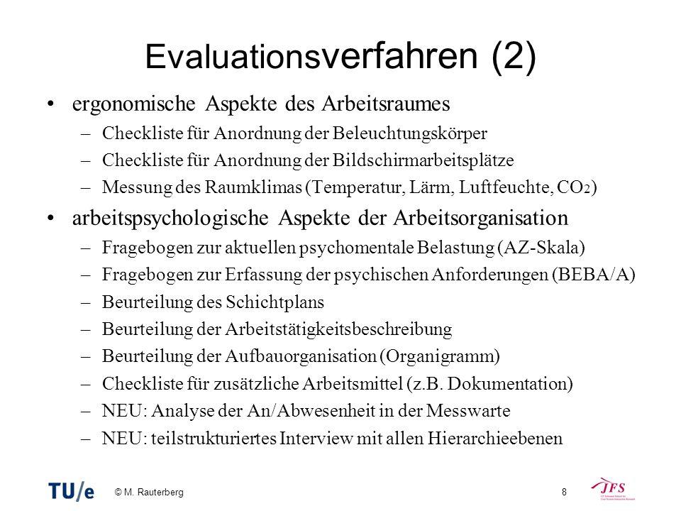 © M. Rauterberg8 Evaluations verfahren (2) ergonomische Aspekte des Arbeitsraumes –Checkliste für Anordnung der Beleuchtungskörper –Checkliste für Ano
