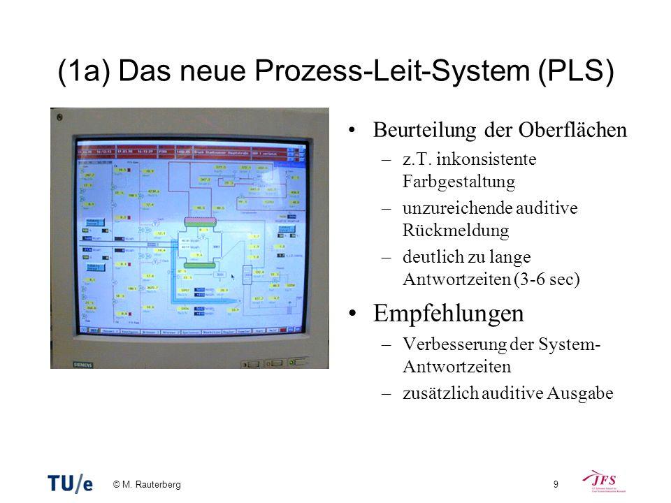 © M. Rauterberg9 (1a) Das neue Prozess-Leit-System (PLS) Beurteilung der Oberflächen –z.T. inkonsistente Farbgestaltung –unzureichende auditive Rückme