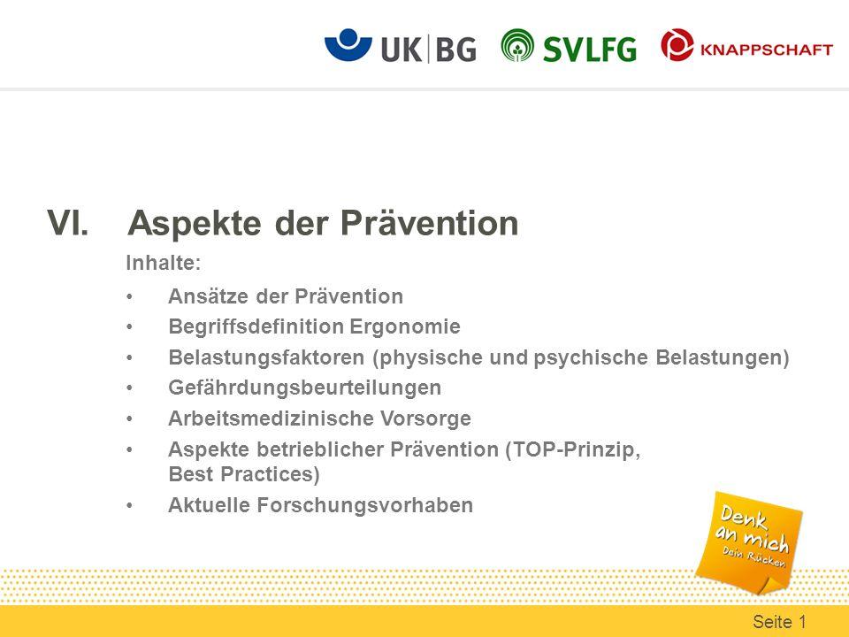 VI.Aspekte der Prävention Inhalte: Ansätze der Prävention Begriffsdefinition Ergonomie Belastungsfaktoren (physische und psychische Belastungen) Gefäh