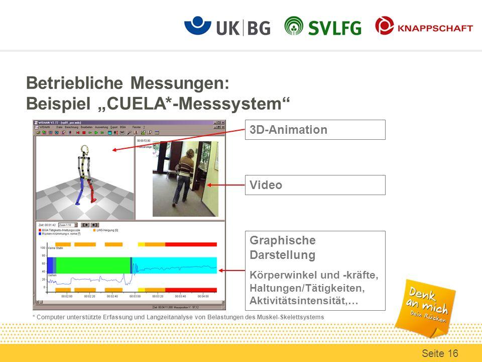 3D-Animation Graphische Darstellung Körperwinkel und -kräfte, Haltungen/Tätigkeiten, Aktivitätsintensität,… Betriebliche Messungen: Beispiel CUELA*-Me