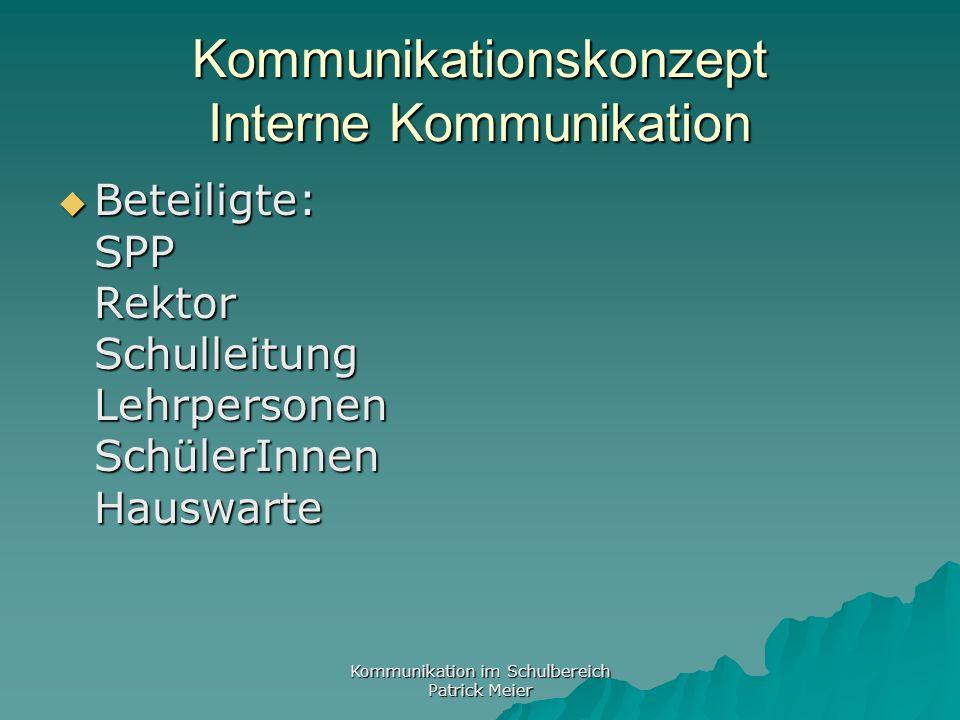 Kommunikation im Schulbereich Patrick Meier KK: Externe Kommunikation Eltern Eltern Bevölkerung Bevölkerung Behörden Behörden Medien Medien