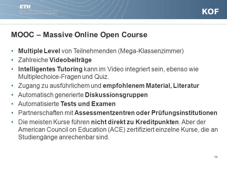 14 MOOC – Massive Online Open Course Multiple Level von Teilnehmenden (Mega-Klassenzimmer) Zahlreiche Videobeiträge Intelligentes Tutoring kann im Video integriert sein, ebenso wie Multiplechoice-Fragen und Quiz.