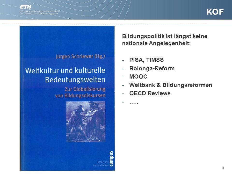 9 Bildungspolitik ist längst keine nationale Angelegenheit: -PISA, TIMSS -Bolonga-Reform -MOOC -Weltbank & Bildungsreformen -OECD Reviews -…..