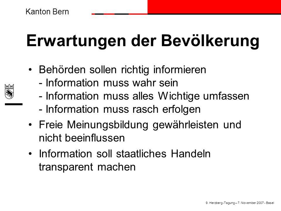 Kanton Bern Erwartungen der Bevölkerung Behörden sollen richtig informieren - Information muss wahr sein - Information muss alles Wichtige umfassen -