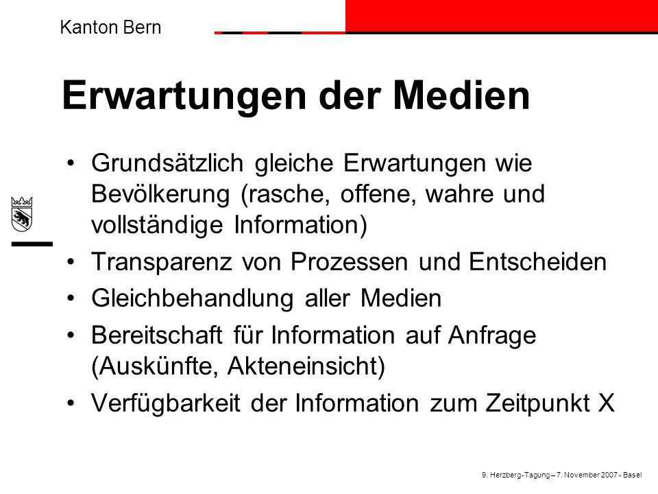 Kanton Bern Erwartungen der Medien Grundsätzlich gleiche Erwartungen wie Bevölkerung (rasche, offene, wahre und vollständige Information) Transparenz von Prozessen und Entscheiden Gleichbehandlung aller Medien Bereitschaft für Information auf Anfrage (Auskünfte, Akteneinsicht) Verfügbarkeit der Information zum Zeitpunkt X 9.
