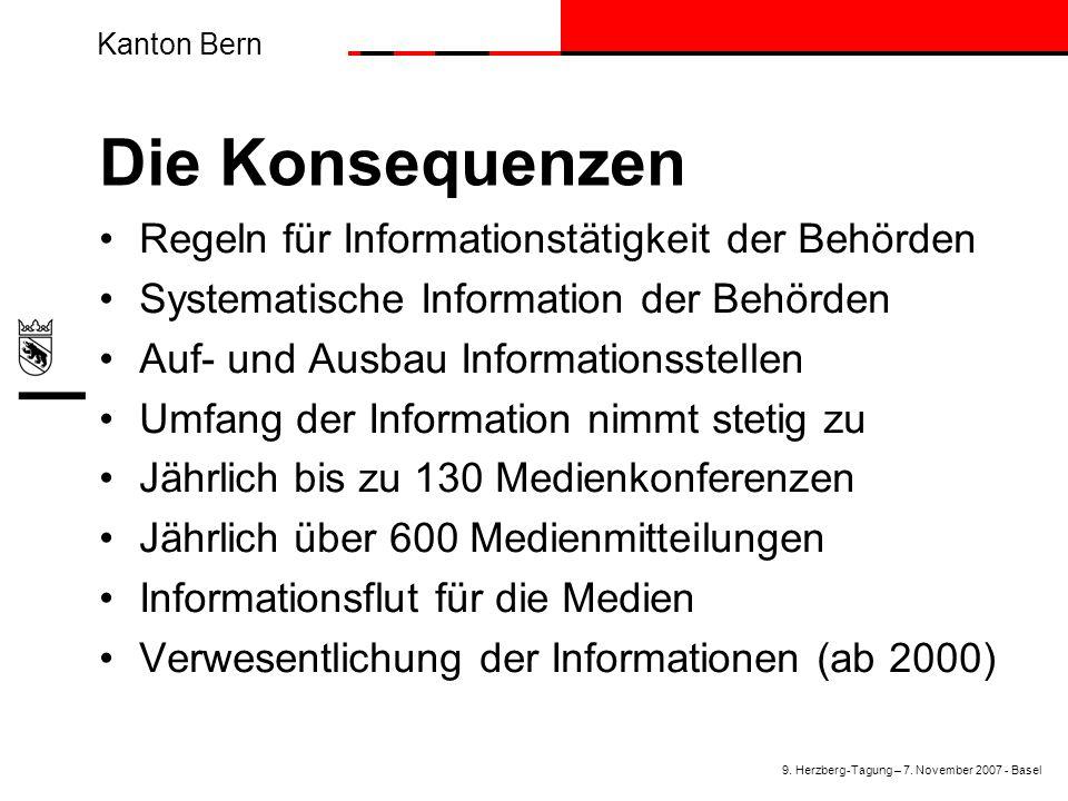 Kanton Bern Die Konsequenzen Regeln für Informationstätigkeit der Behörden Systematische Information der Behörden Auf- und Ausbau Informationsstellen Umfang der Information nimmt stetig zu Jährlich bis zu 130 Medienkonferenzen Jährlich über 600 Medienmitteilungen Informationsflut für die Medien Verwesentlichung der Informationen (ab 2000) 9.