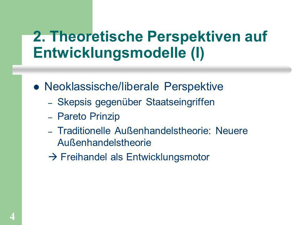 4 2. Theoretische Perspektiven auf Entwicklungsmodelle (I) Neoklassische/liberale Perspektive – Skepsis gegenüber Staatseingriffen – Pareto Prinzip –