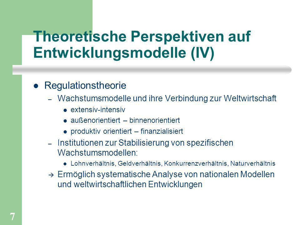 7 Theoretische Perspektiven auf Entwicklungsmodelle (IV) Regulationstheorie – Wachstumsmodelle und ihre Verbindung zur Weltwirtschaft extensiv-intensi