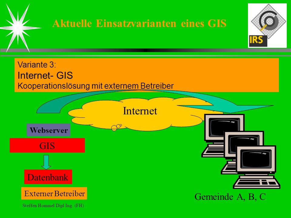 Steffen Hommel Dipl.Ing. (FH) Aktuelle Einsatzvarianten eines GIS Variante 3: Internet- GIS Kooperationslösung mit externem Betreiber Datenbank GIS We