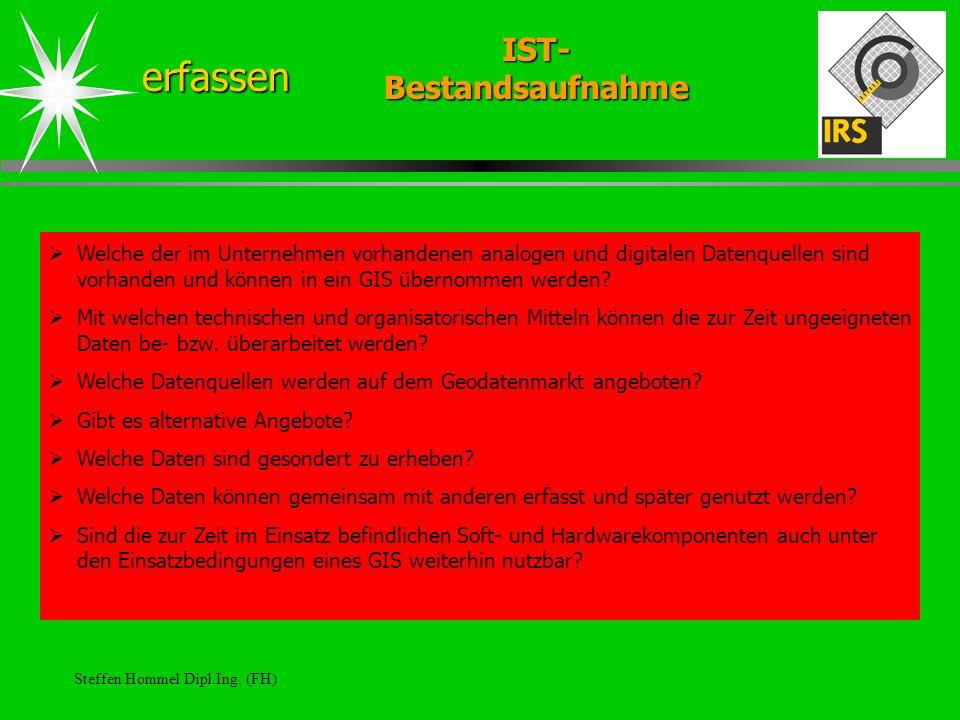 Steffen Hommel Dipl.Ing. (FH) IST- Bestandsaufnahme erfassen Welche der im Unternehmen vorhandenen analogen und digitalen Datenquellen sind vorhanden