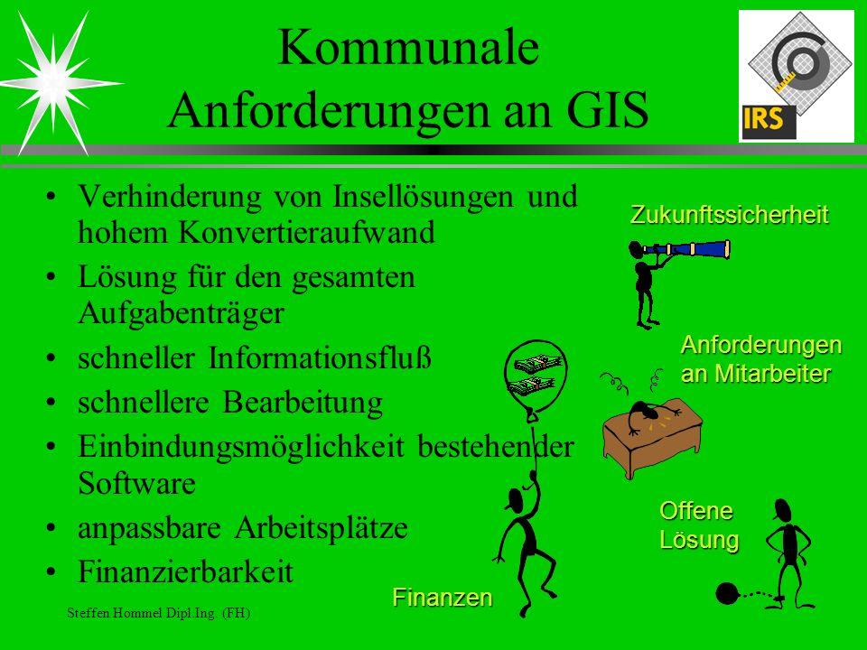 Steffen Hommel Dipl.Ing. (FH) Kommunale Anforderungen an GIS Verhinderung von Insellösungen und hohem Konvertieraufwand Lösung für den gesamten Aufgab