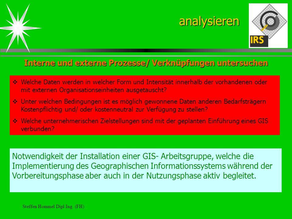 Steffen Hommel Dipl.Ing. (FH) Interne und externe Prozesse/ Verknüpfungen untersuchen analysieren Welche Daten werden in welcher Form und Intensität i