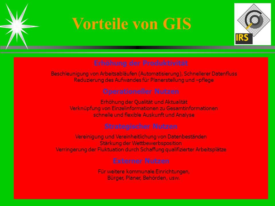 Steffen Hommel Dipl.Ing. (FH) Vorteile von GIS Erhöhung der Produktivität Beschleunigung von Arbeitsabläufen (Automatisierung), Schnellerer Datenfluss