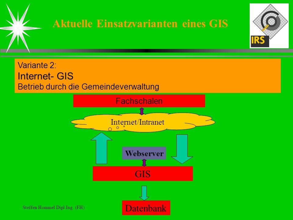 Steffen Hommel Dipl.Ing. (FH) Aktuelle Einsatzvarianten eines GIS Variante 2: Internet- GIS Betrieb durch die Gemeindeverwaltung Datenbank GIS Webserv