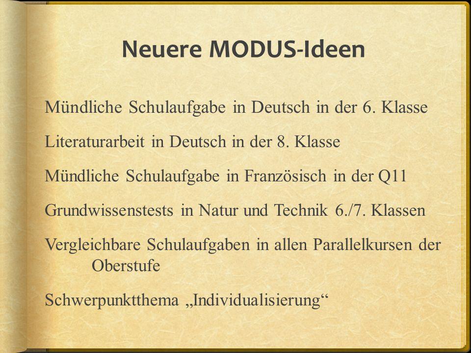 Neuere MODUS-Ideen Mündliche Schulaufgabe in Deutsch in der 6. Klasse Literaturarbeit in Deutsch in der 8. Klasse Mündliche Schulaufgabe in Französisc