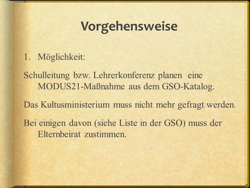 Vorgehensweise 1.Möglichkeit: Schulleitung bzw. Lehrerkonferenz planen eine MODUS21-Maßnahme aus dem GSO-Katalog. Das Kultusministerium muss nicht meh